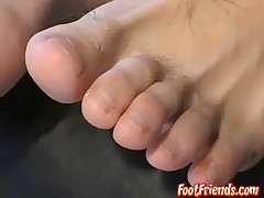 Soles tickling and balls massage with..